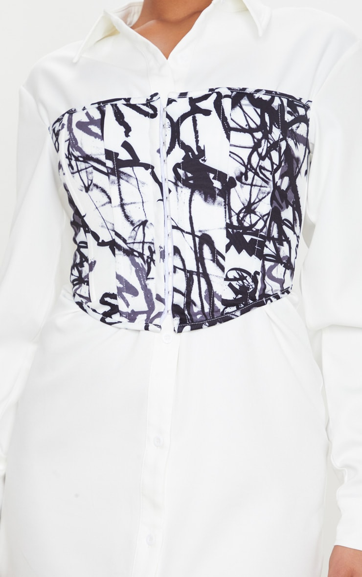 White Graffiti Print Hook & Eye Corset Bust Shirt Dress 4