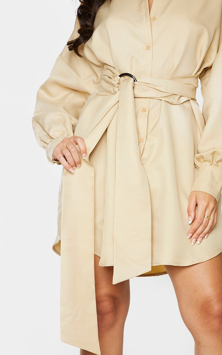 Stone Belted Tie Shirt Dress 4