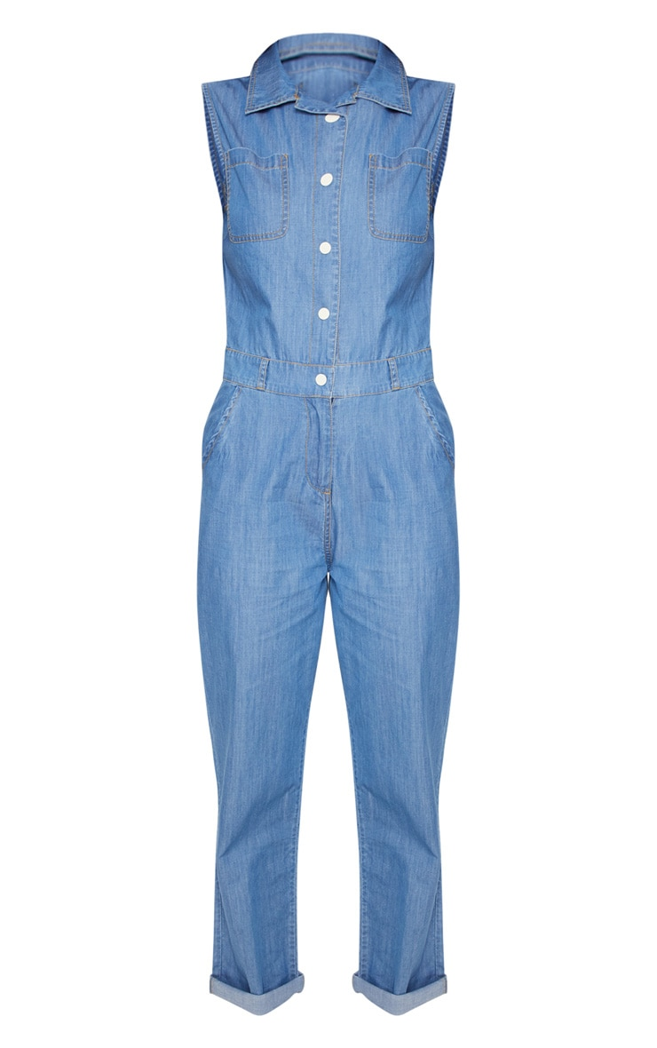 Mid Wash Sleeveless Utility Boilersuit 3