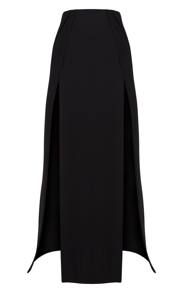 Black Double Split Maxi Skirt 3