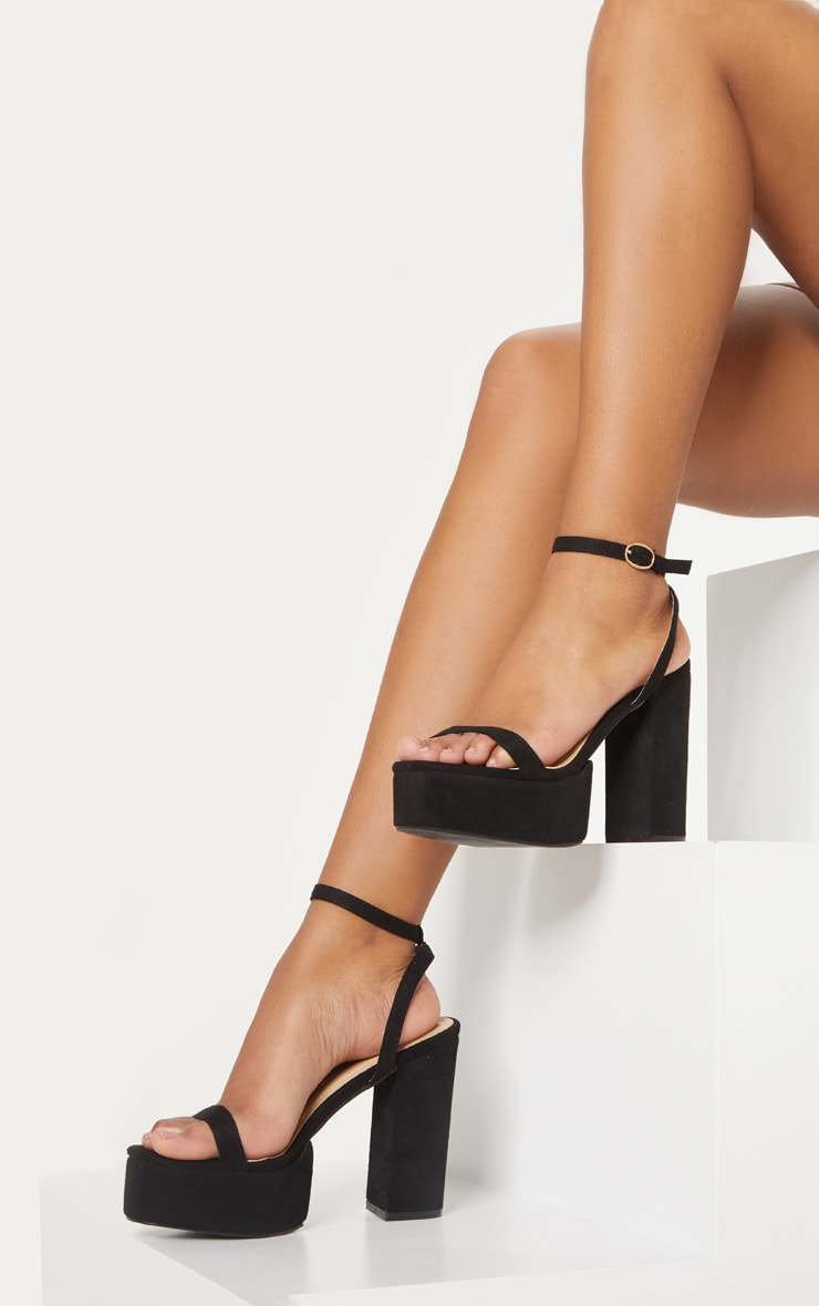 Black Square Toe Platform Sandal 1