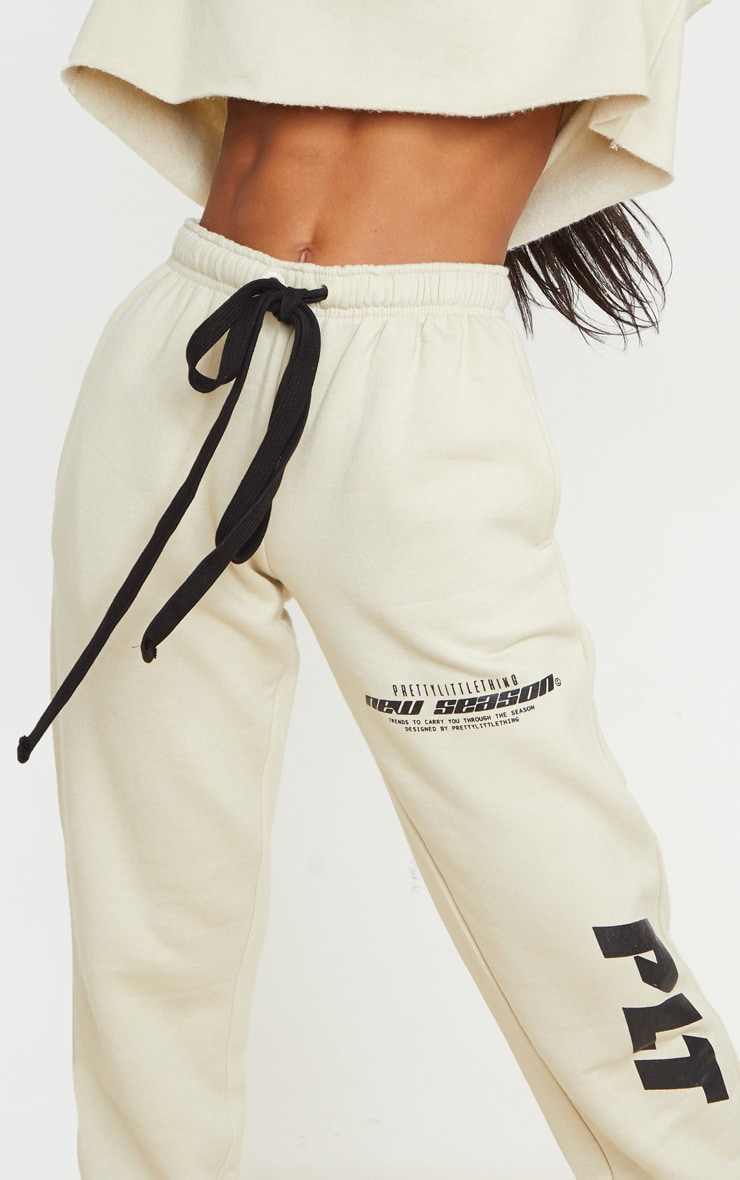 PRETTYLITTLETHING Sand New Season Graphic Joggers 4