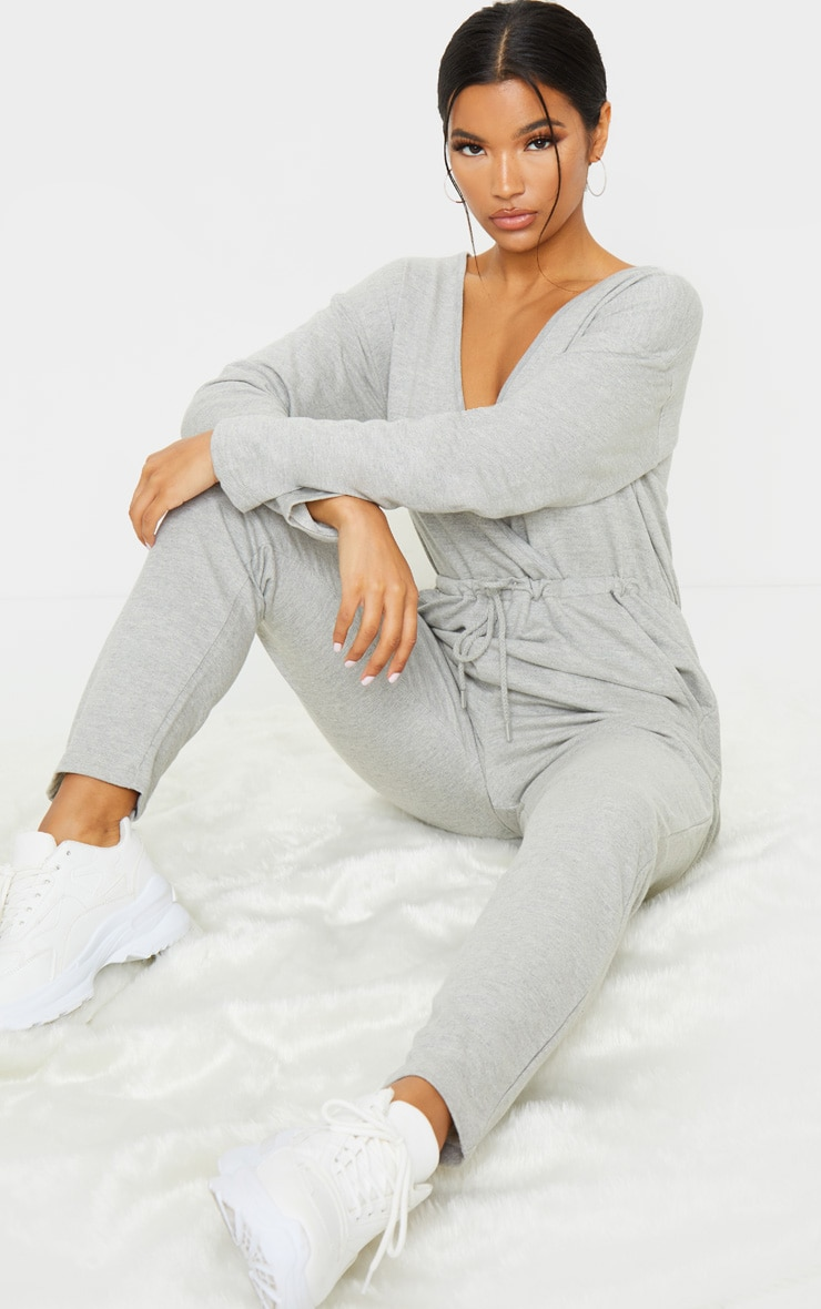 Grey Wrap Over Long Sleeve Sweat Jumpsuit 1