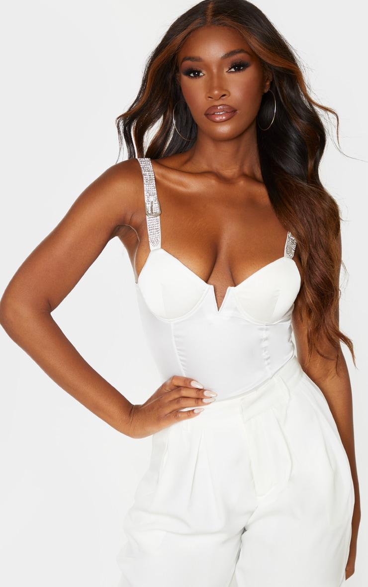 White Diamante Strap V Bar Bodysuit 1