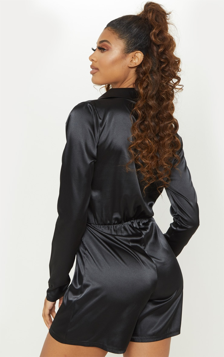 Tall Black Satin Ruched Waist Playsuit 2