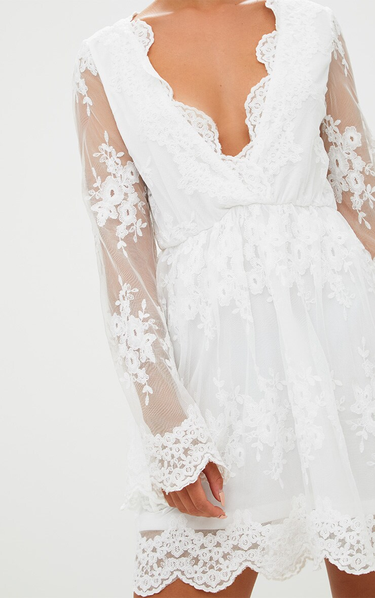 White Lace Plunge Bell Sleeve Skater Dress  5