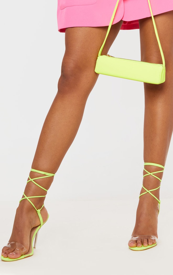 Lime Wide Fit Clear Heel Strap Ankle Tie Sandals 2