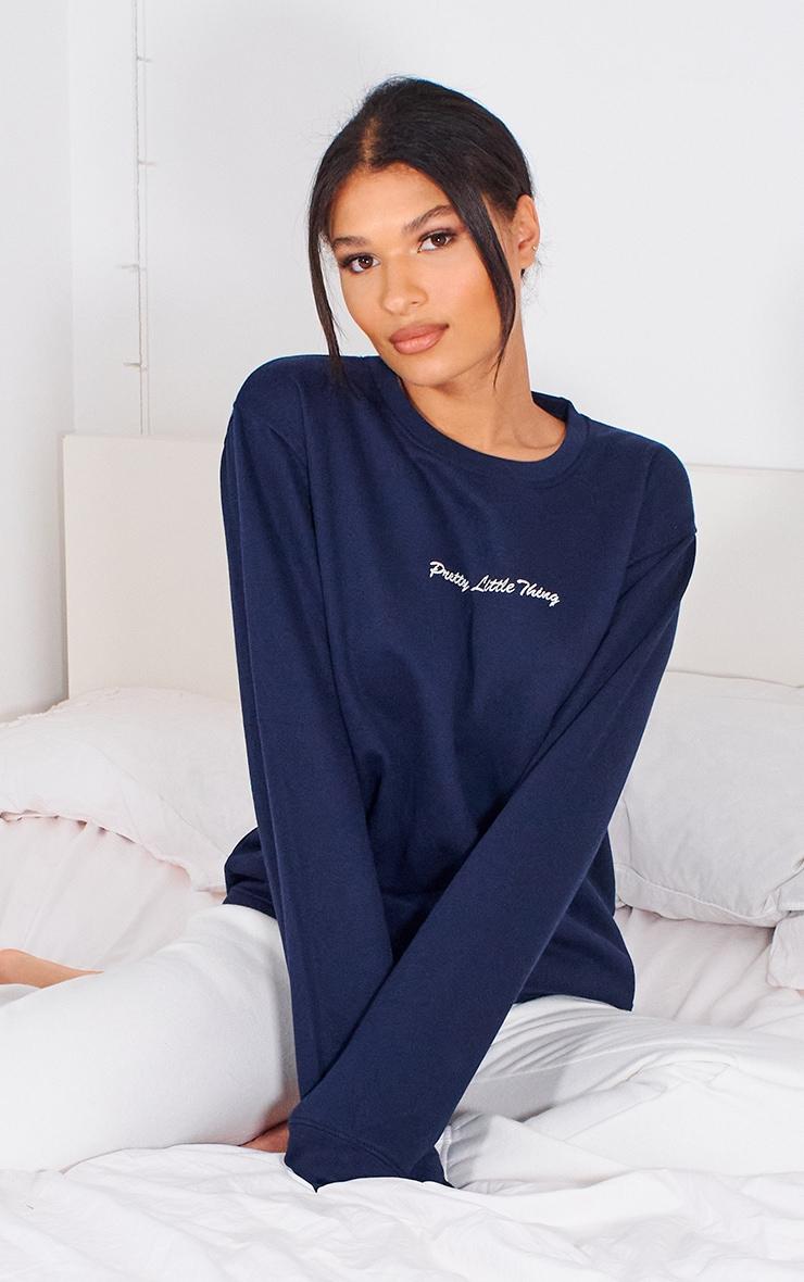 PRETTYLITTLETHING Navy Embroidered Sweatshirt 4