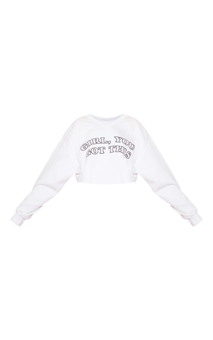 Girl, YOU GOT THIS Cropped Sweater White 4