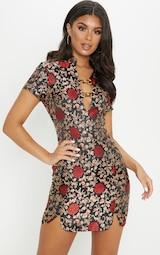 Black Oriental Jacquard Buckle Detail Bodycon Dress 1