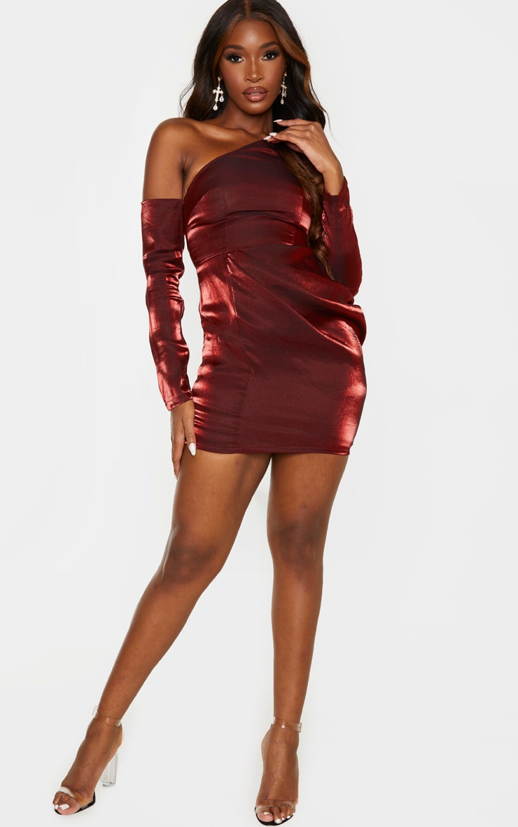 Red Metallic One Shoulder Drape Bodycon Dress 4