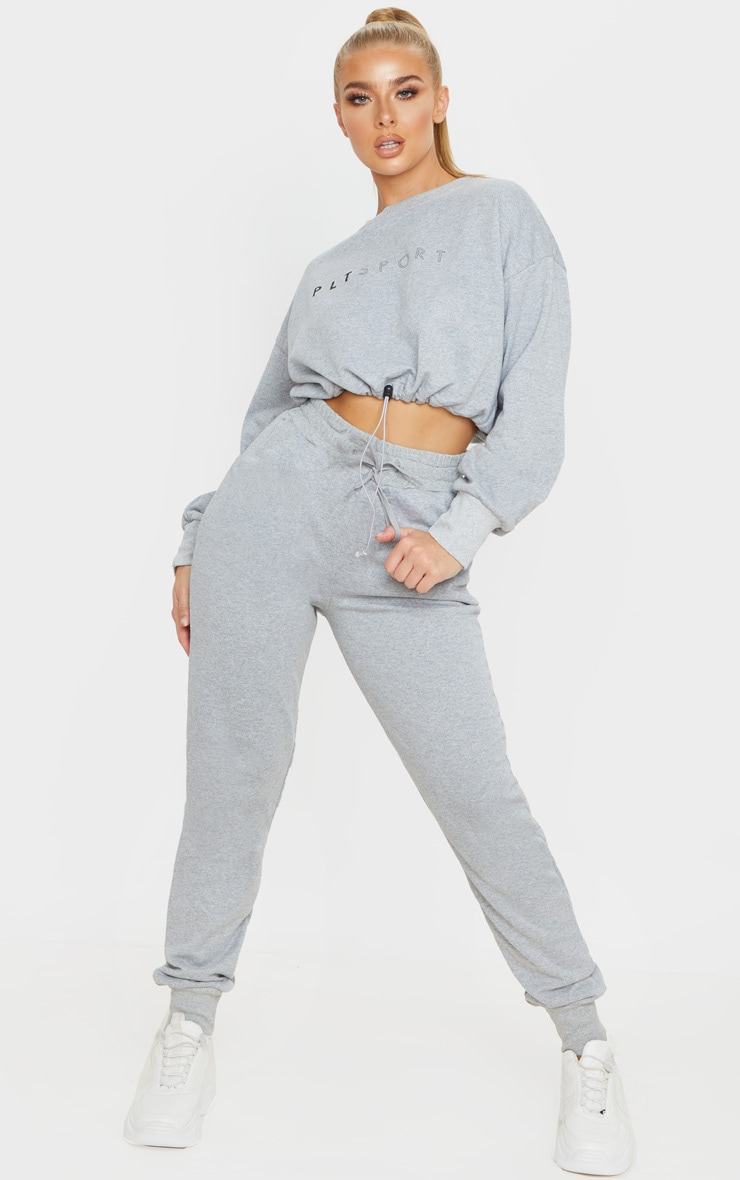 PRETTYLITTLETHING Grey Basic Gym Sweat Top 4