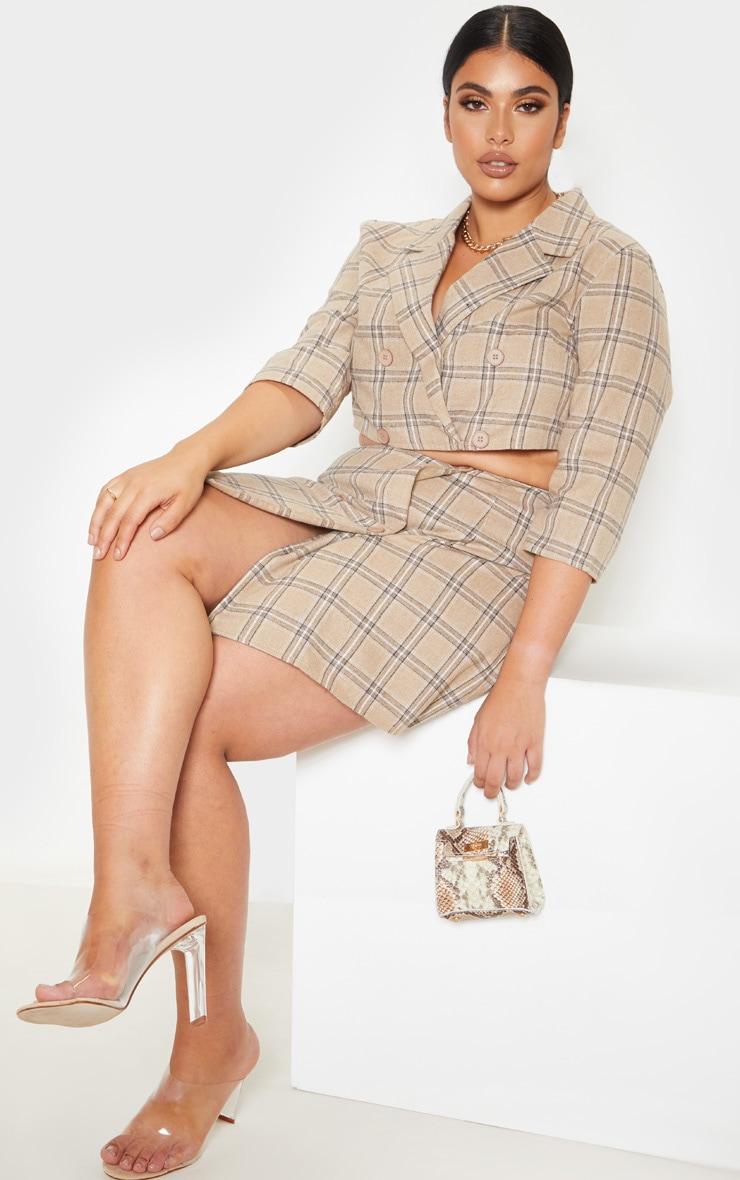 Plus Stone Check Button Detail Mini Skirt  3