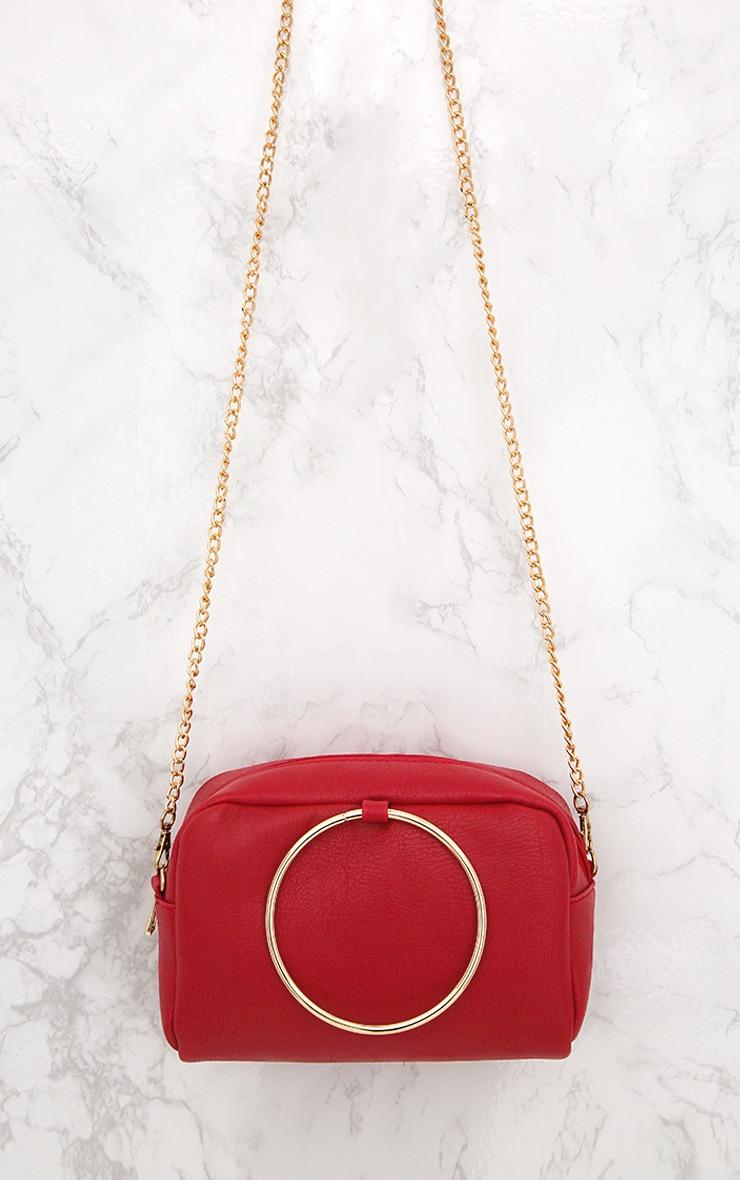 Red Metal Ring Handle Shoulder Bag 2