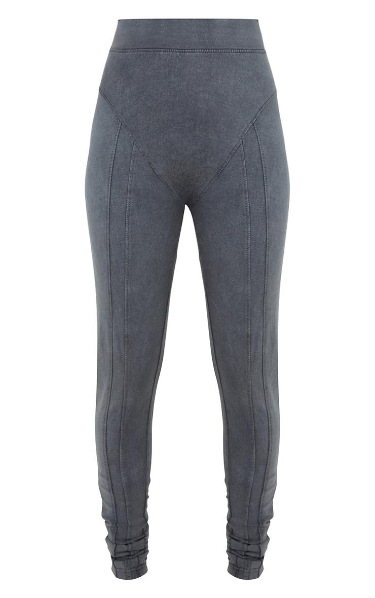Charcoal Grey Acid Washed Seam Detail Leggings 5
