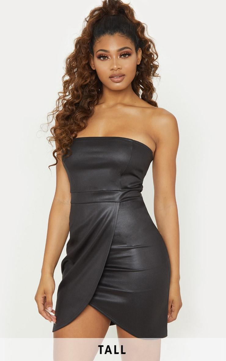 Tall Black PU Zip Back Bandeau Bodycon Dress 1
