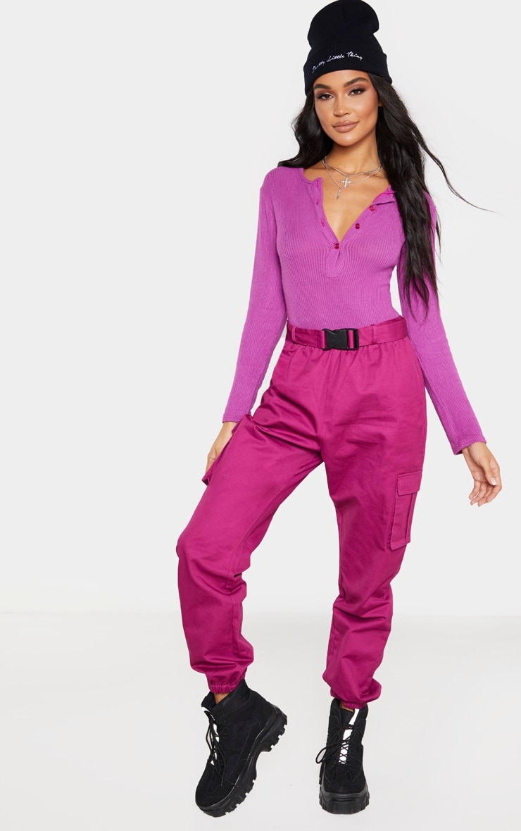 Violet Rib Brushed Button Long Sleeve Bodysuit 5