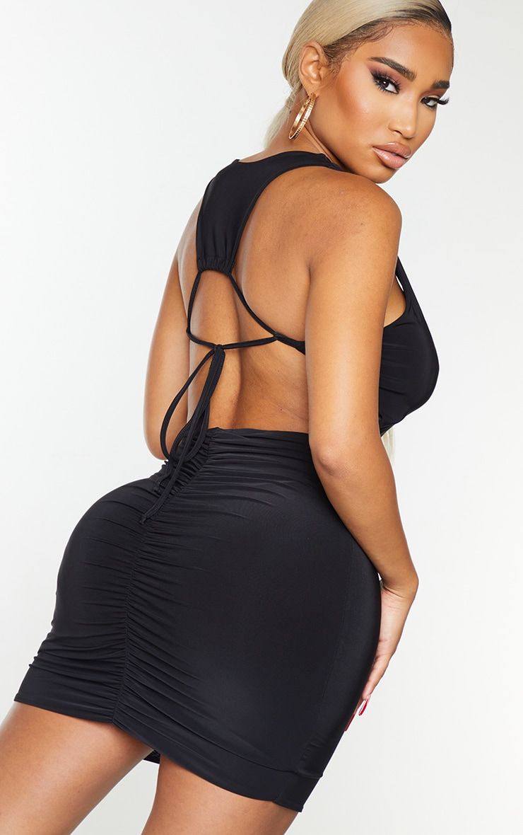 Shape Black Slinky Plunge Tie Back Bodycon Dress 4