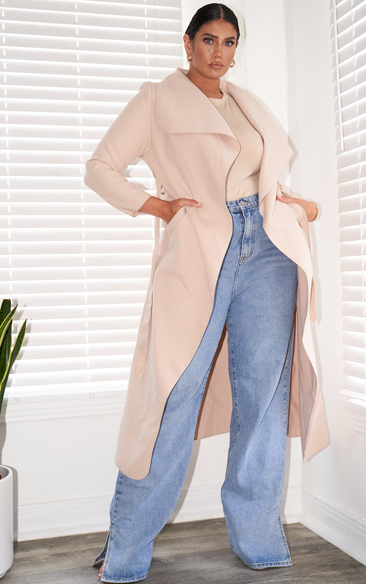 Plus Stone Maxi Length Oversized Waterfall Belted Coat 1