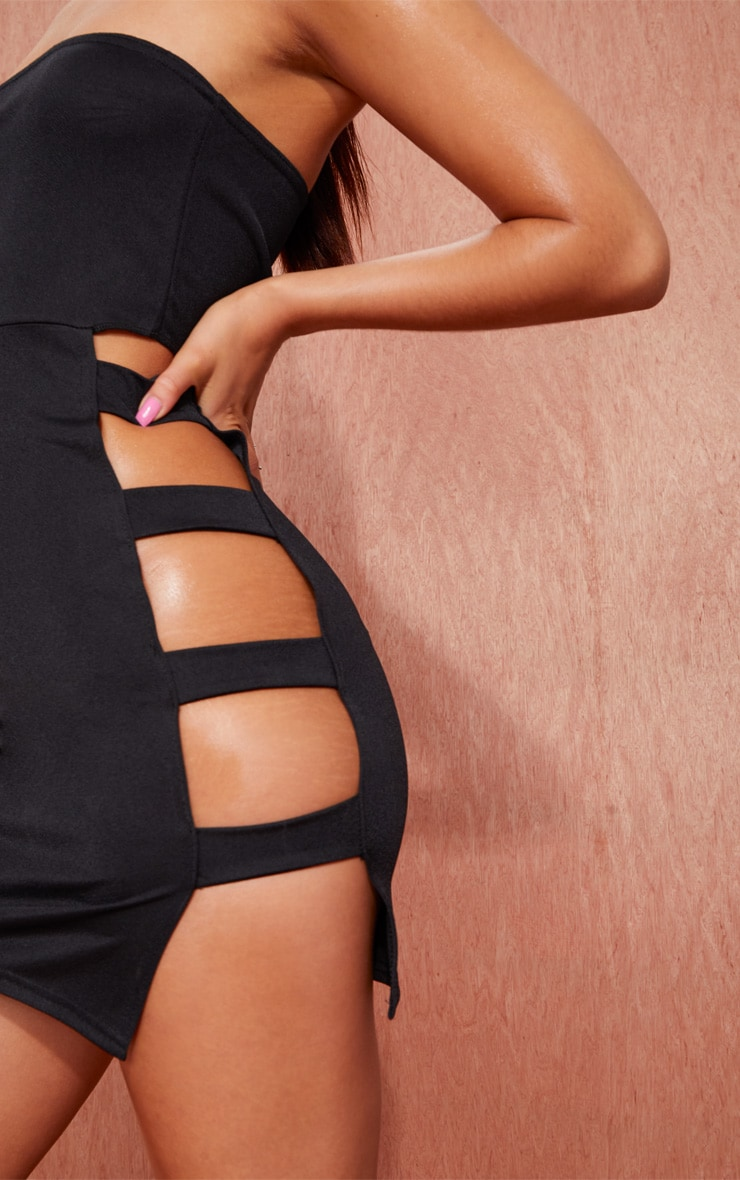 Black Bandeau Strappy Side Bodycon Dress 5