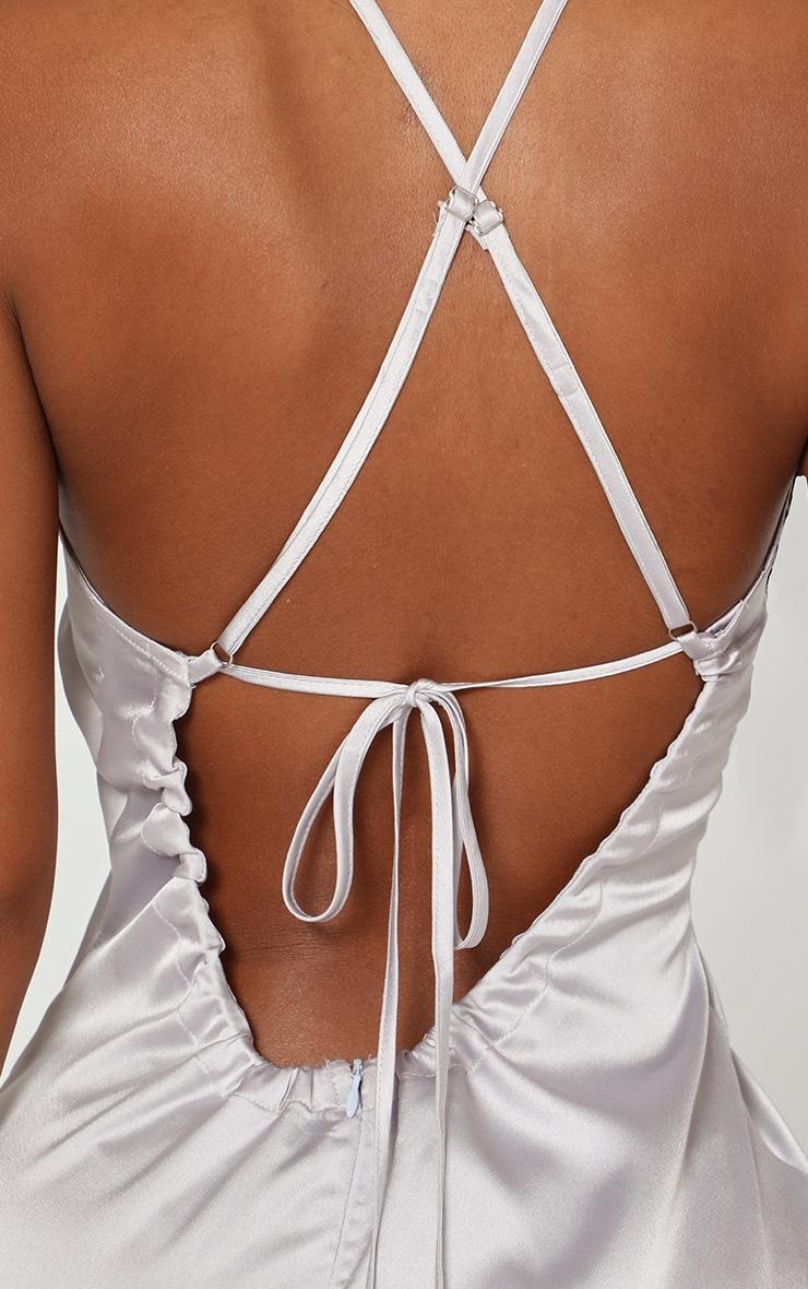 Shape Ice Grey Satin Scoop Cross Back Midi Dress 5
