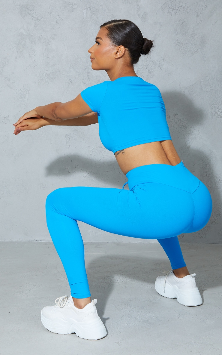 Blue High Waist Ruched Bum Gym Leggings 1