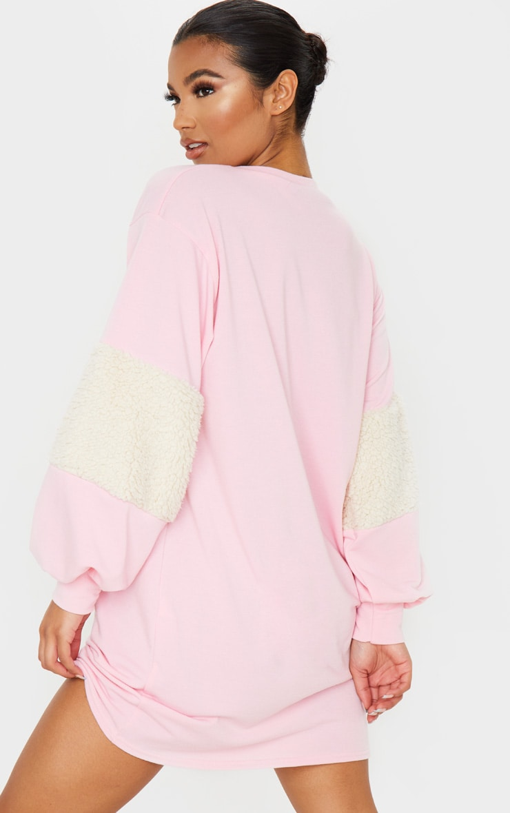 Baby Pink Borg Panel Oversized Sweater Dress 3