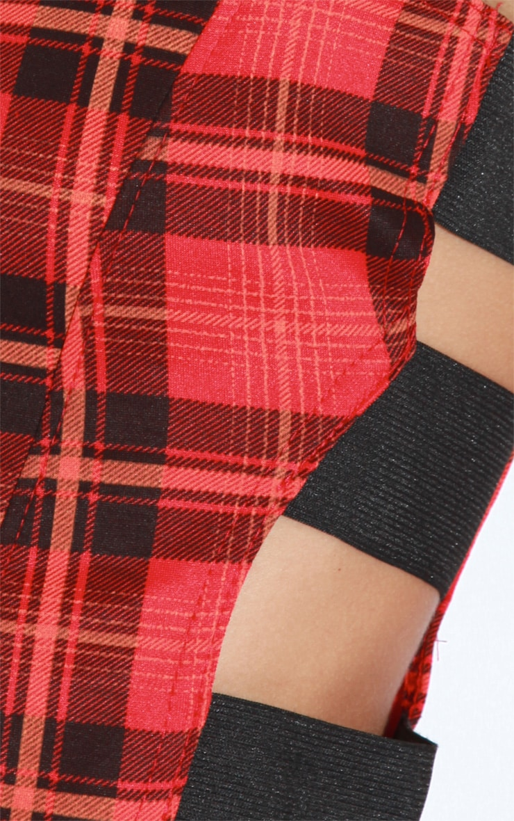 Ariel Red Tartan Elasticated Crop Top 5