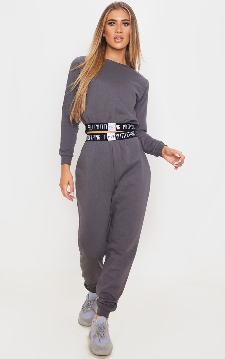 PRETTYLITTLETHING Charcoal Grey Lounge Jogger 1
