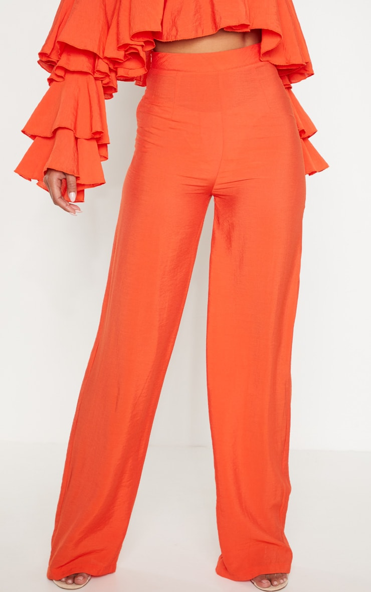 Bright Orange Woven High Waisted Wide Leg Trouser 2