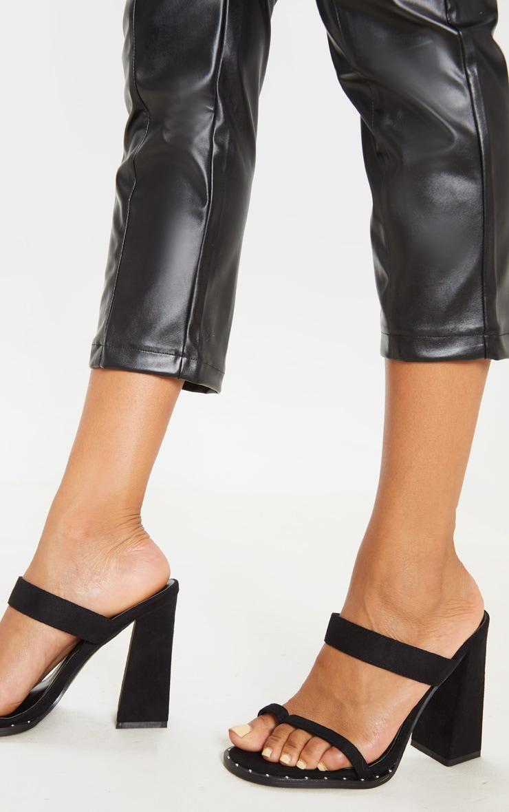 Black Toe Loop Mule Block Heel Stud Detail Sandal 1