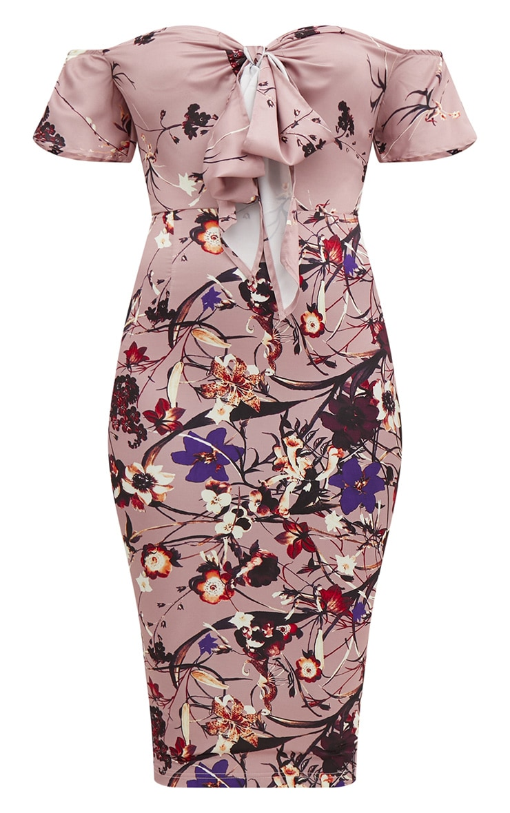 Pink Floral Bardot Tie Front Midi Dress 3