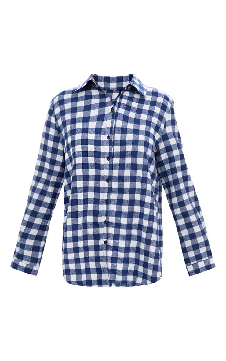 Blue Oversized Checked Flannel Shirt 3