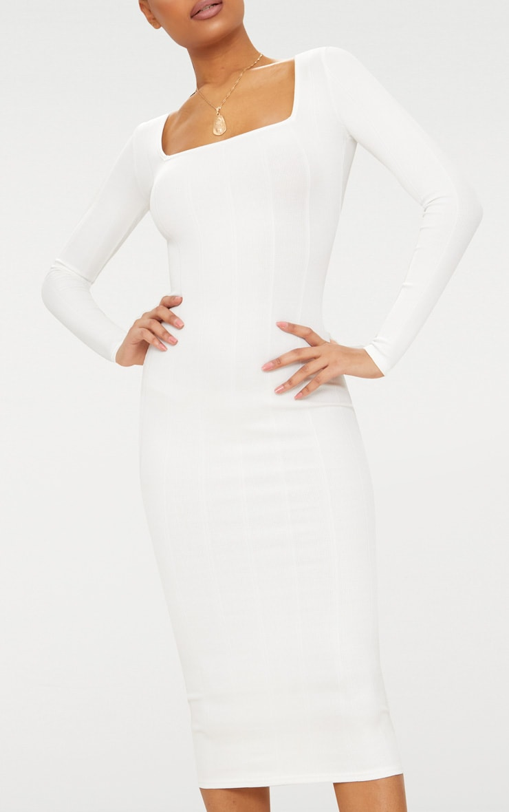White Bandage Long Sleeve Square Neck Midaxi Dress 5