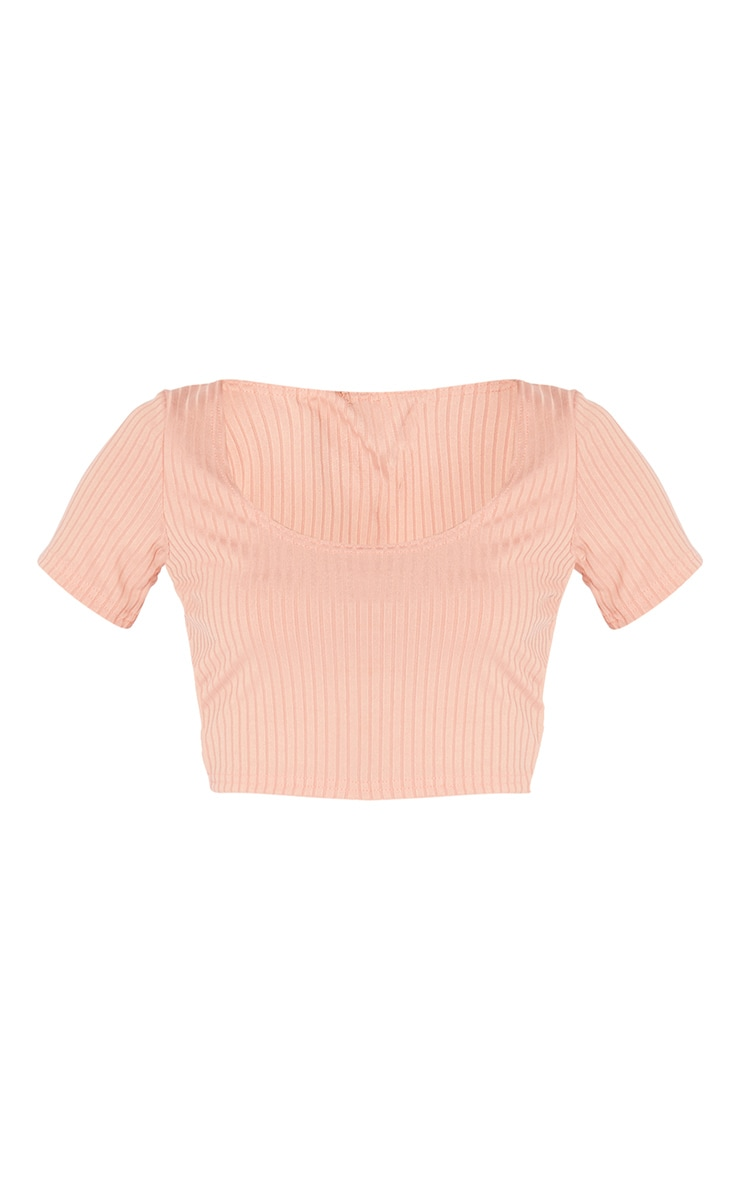 Dusty Pink Rib Square Neck Short Sleeve Crop Top 5