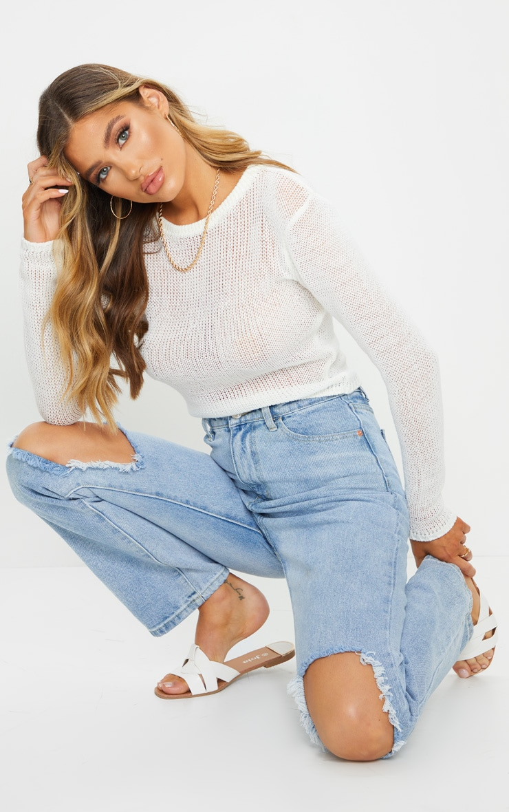 White Fine Knit Long Sleeve Top 3