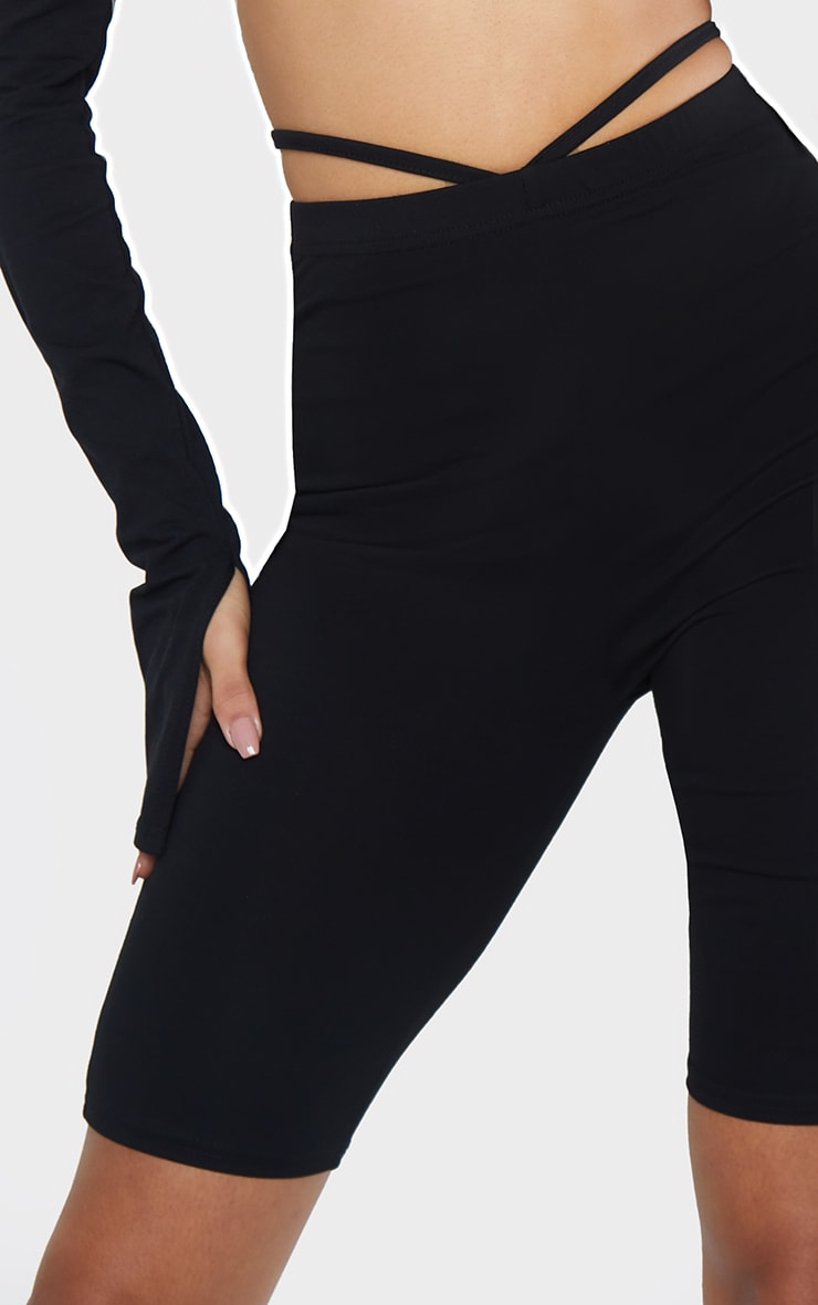 Black Cotton V Hem Tie Waist Cycle Shorts 5