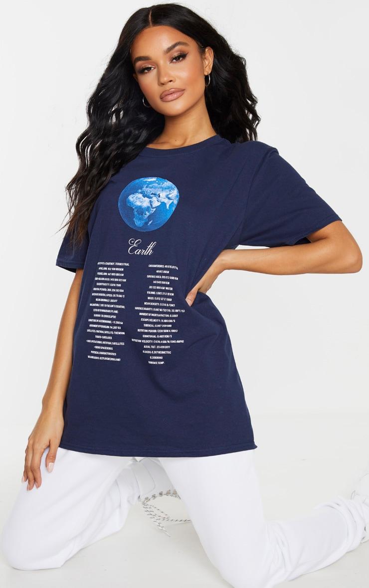 Tee-shirt bleu marine imprimé espace 1