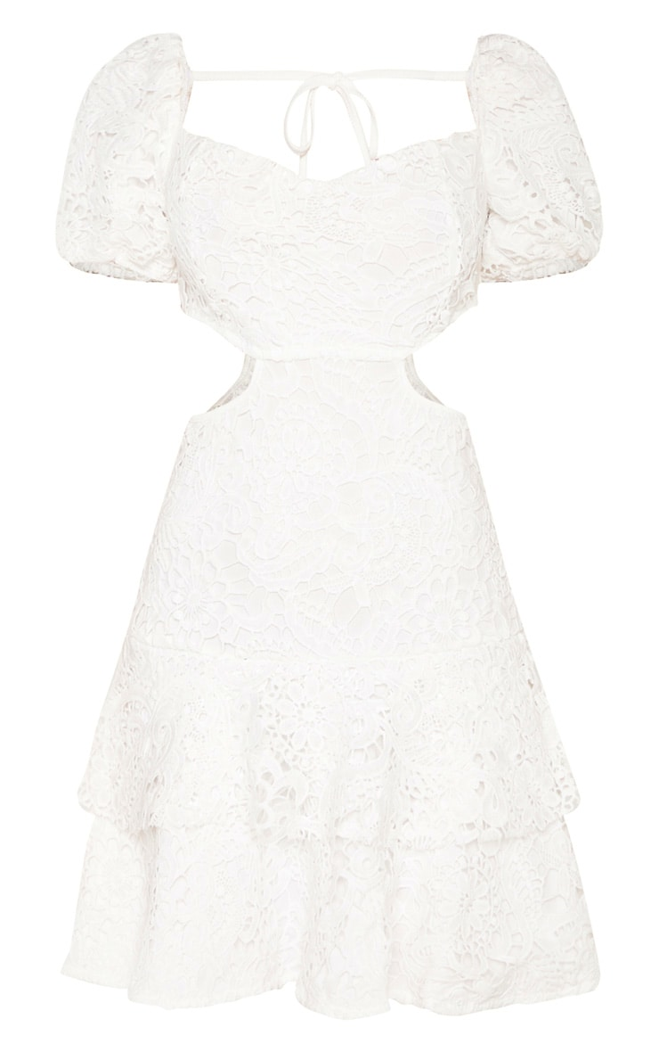 White Lace Puff Sleeve Cut Out Skater Dress 3