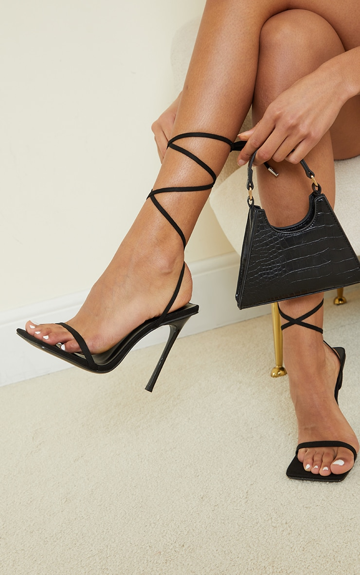 Black Faux Suede Square Toe Barely There Lace Up High Heeled Sandals 2