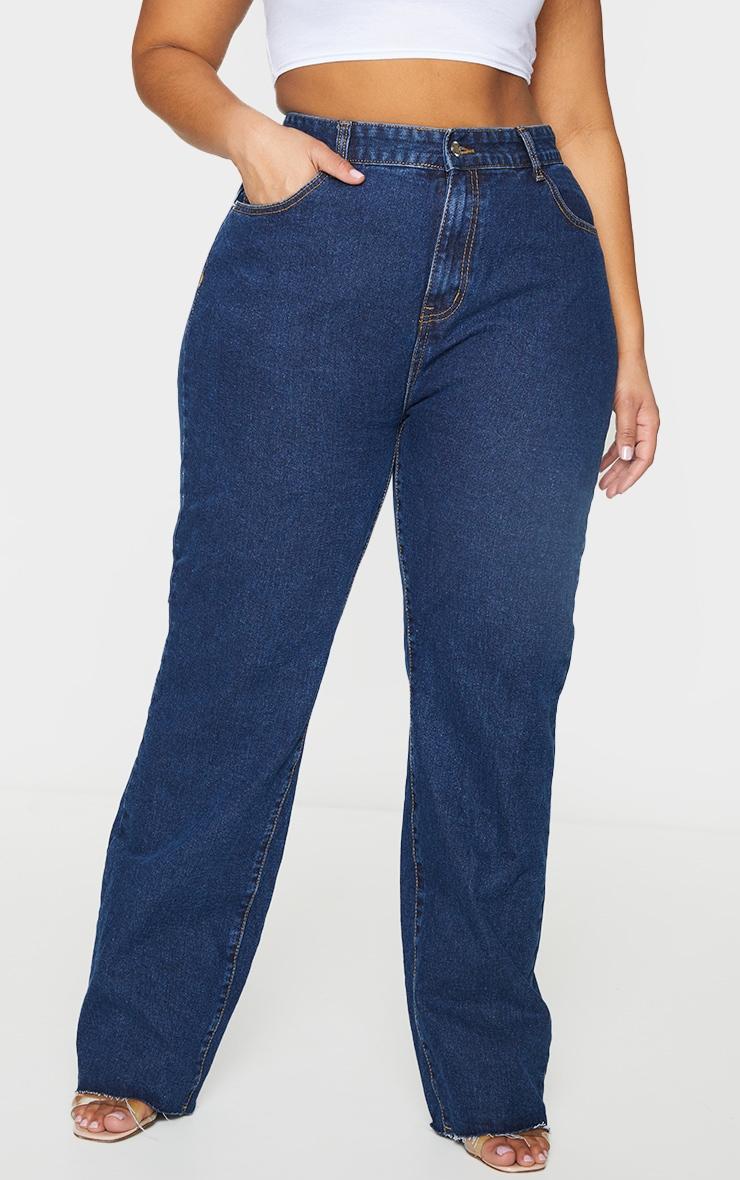 PRETTYLITTLETHING Plus Indigo Long Leg Straight Jeans 2
