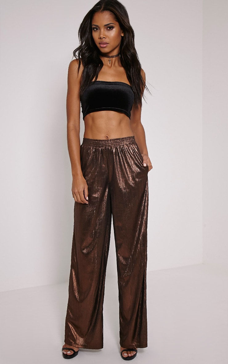 Dana Bronze Metallic Wide Leg Trousers 1