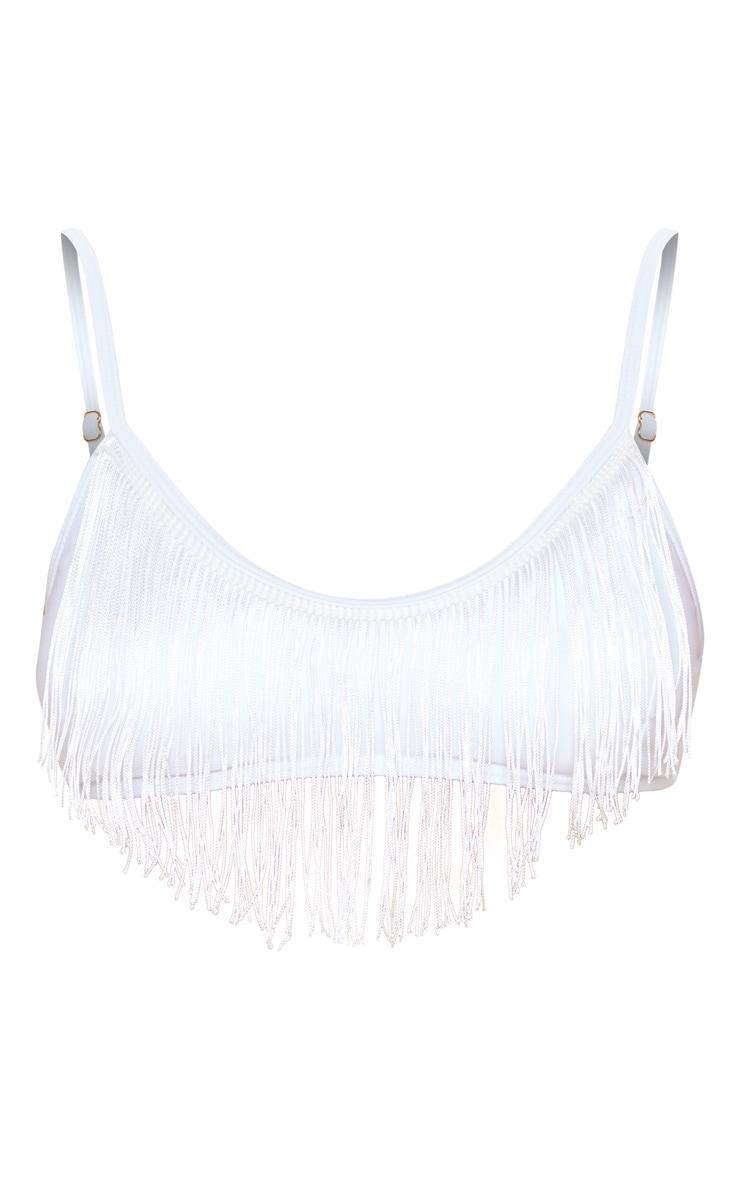 White Fringe Scoop Neck Bikini Top 3