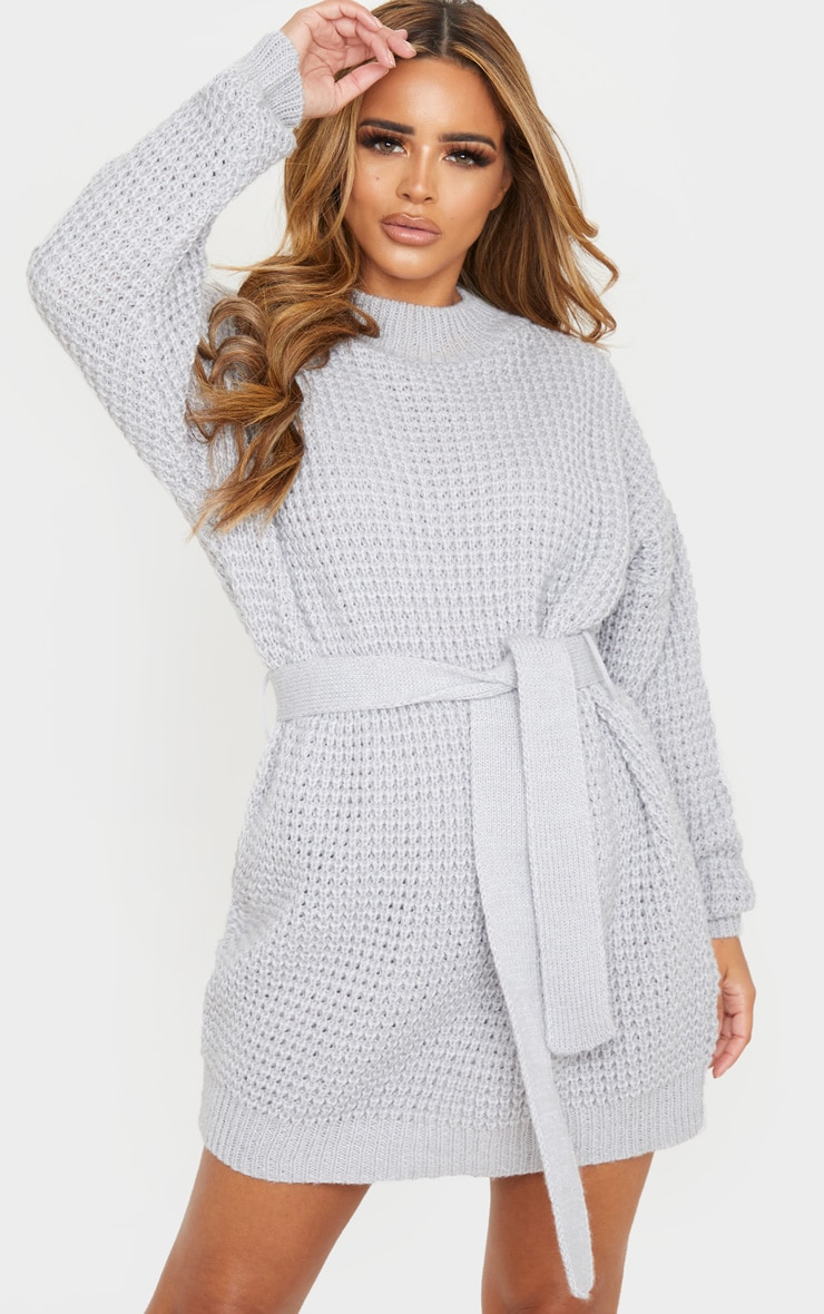 Petite Grey Soft Touch Belted Knitted Jumper Dress 1