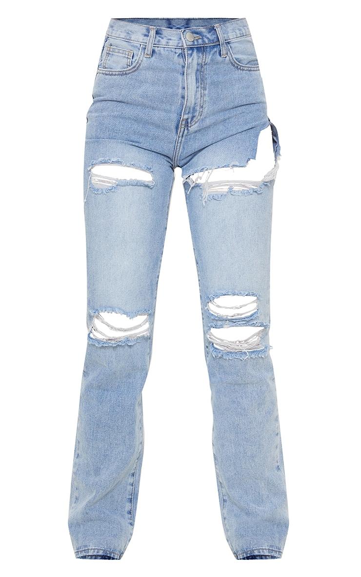Light Blue Wash Distressed Long Leg Straight Jeans 5