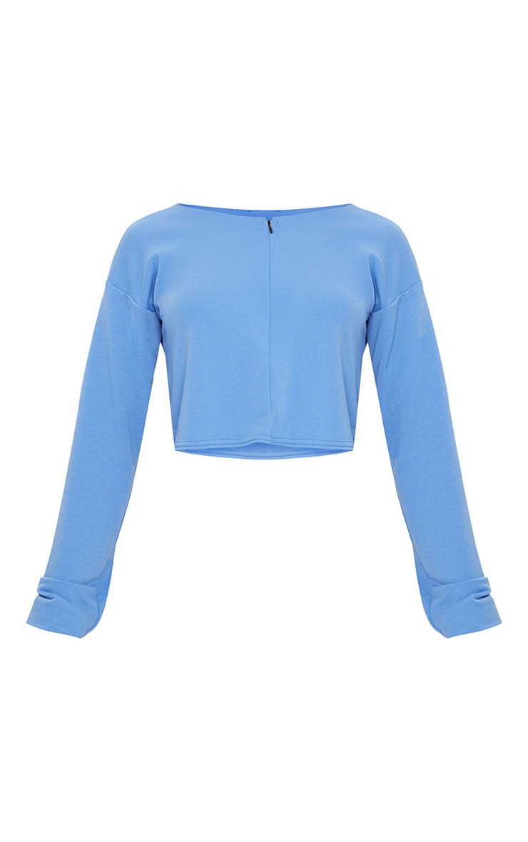 Powder Blue Zip Front Sweater 3