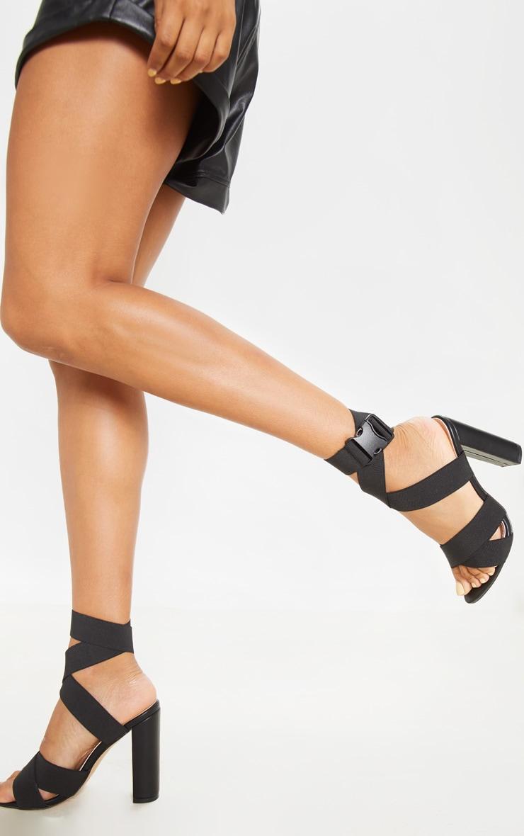 Black Elastic Buckle Detail Block Heel Sandal 1