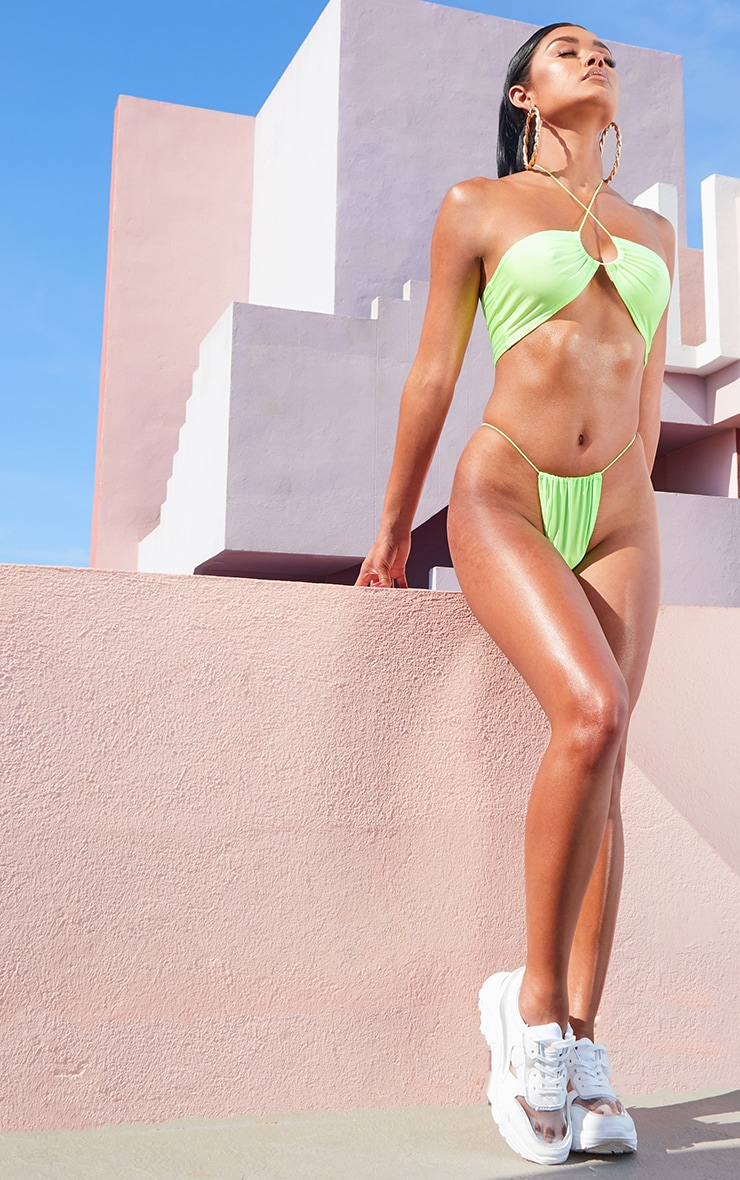 Lime Multi Tie Elastic Strap Bikini Top 4