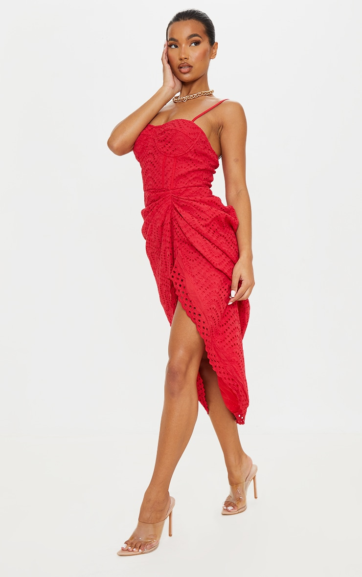 Red Broderie Anglaise Strappy Corset Drape Midi Dress 3