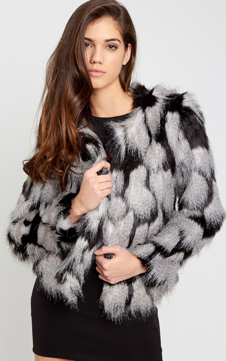 Amia Grey Fur Cropped Coat 4